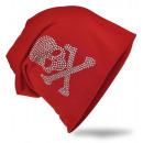 groothandel Figuren & beelden: Beanie Skull and Bone Rhinestone Red