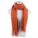 groothandel Kleding & Fashion: Winter sjaal met  kwasten effen kleur donkeroranje