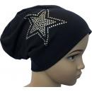Großhandel Fashion & Accessoires: Kinder Beanie  Mütze Strass 2 Stern Schwarzblau M