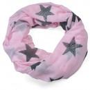 wholesale Home & Living: Rhinestone star loop scarf pink