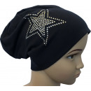 Großhandel Fashion & Accessoires: Kinder Beanie  Mütze Strass 2 Stern Schwarzblau S