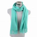 Winter Schal mit Quasten Unifarbe Helltuerkis