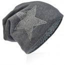 Großhandel Fashion & Accessoires: Strick Beanie Strass Stern Grau
