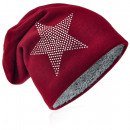 wholesale Fashion & Apparel: Knit beanie rhinestone star wine red