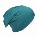 wholesale Headgear: Beanie Crystal Rivets Petrol