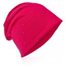 wholesale Headgear: Beanie Hat  Rhinestone Rivets Pink