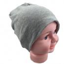 Kinder Beanie  Mütze Unifarbe Grau S