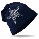 Großhandel Fashion & Accessoires: Kinder Beanie  Mütze Strass Stern Schwarzblau L