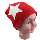 Kinder Beanie  Mütze Gross Stern Rot M