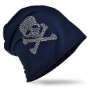 groothandel Figuren & beelden: Beanie Skull and  Bone Dark Blue Rhinestone