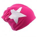 wholesale Headgear: Beanie Hat White Star Pink