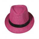 grossiste Cadeaux et papeterie: Chapeau Panama  Fedora Chapeau de paille rose