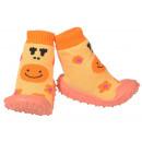 grossiste Chaussures: Bébé Chaussons sourire orange 23