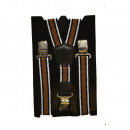 wholesale Belts: Long Suspenders Y Shape 4cm Wide Striped Brown