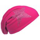 Großhandel Fashion & Accessoires: Beanie Mütze Strass Stern Pink