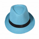 grossiste Cadeaux et papeterie: Chapeau Panama  Fedora chapeau de paille bleu ciel