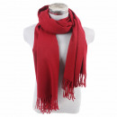 Winter scarf with  tassels solid color burgundy