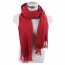 Großhandel Fashion & Accessoires: Winter Schal mit  Quasten Unifarbe Weinrot