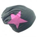 Beanie Pink Star Anthracite