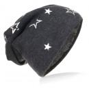 Großhandel Kopfbedeckung: Kinder Strick Beanie Silber Stern Anthrazit M