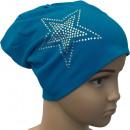 Großhandel Fashion & Accessoires: Kinder Beanie  Mütze Strass 2 Stern Lichtblau M