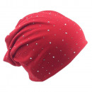 wholesale Headgear: Beanie Red Crystal Rivets