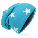 Großhandel Kopfbedeckung: Kinder Strick Beanie Weiss Stern Blau M