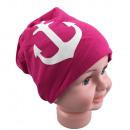 wholesale Headgear: Children Beanie  large anchor magenta M