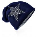 wholesale Fashion & Apparel: Knit beanie rhinestone star dark blue