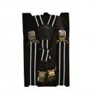 Großhandel Fashion & Accessoires: Long Hosenträger X  Form 4cm Breit gestreift schwar