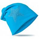 Großhandel Kopfbedeckung: Kinder Beanie StrassStern Lichtblau XL