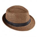 grossiste Cadeaux et papeterie: Panama Chapeau de paille Fedora Brown