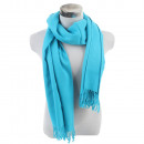 Winter scarf with  tassels solid color light blue