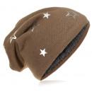 Großhandel Kopfbedeckung: Kinder Strick Beanie Silber Stern Taupe M