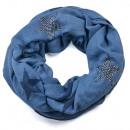 grossiste Décoration: Strass étoile Loopschal bleu foncé