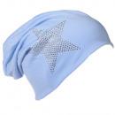 Beanie Mütze  Strass Stern Babyblau