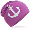 wholesale Headgear: Children's Beanie Hat Large Anchor Orchid M