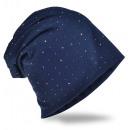 Beanie Hat Rhinestone Studded Dark Blue
