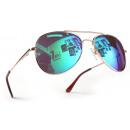 Großhandel Sonnenbrillen: Pilotenbrille Gold Karibikblau