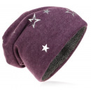 Großhandel Kopfbedeckung: Kinder Strick Beanie Silber Stern Lila M