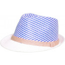 grossiste Cadeaux et papeterie: Chapeau Panama  Fedora Chapeau de paille Bleu Blanc