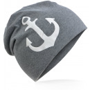 wholesale Headgear: Children's Beanie Hat Large Anchor Anthracite