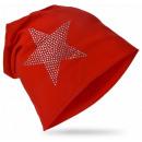 Großhandel Kopfbedeckung: Kinder Beanie Mütze Strass Stern Rot M