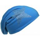 Großhandel Kopfbedeckung: Beanie Mütze  Strass Stern Lichtblau
