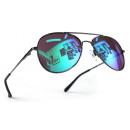 Großhandel Sonnenbrillen: Pilotenbrille Schwarz Karibikblau