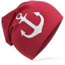 wholesale Headgear: Children's beanie cap large anchor wine red M