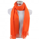 Winter Schal mit Quasten Unifarbe Orange