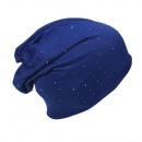 wholesale Headgear: Beanie Crystal Rivets Marine