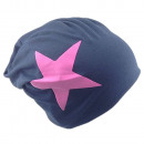 wholesale Headgear: Beanie Pink Star Dark Blue