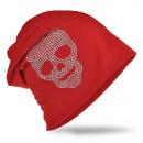 groothandel Figuren & beelden: Beanie Skull Rhinestone Red